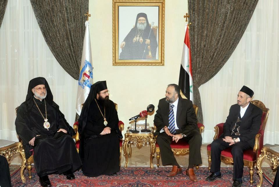 στην πατριαρχικη εδρα στη Δαμασκο ο υπουργος βακουφειων με ελληνορθόδοξους ιεράρχες
