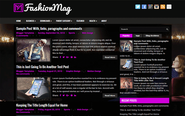 FashionMag Free Blogger Template