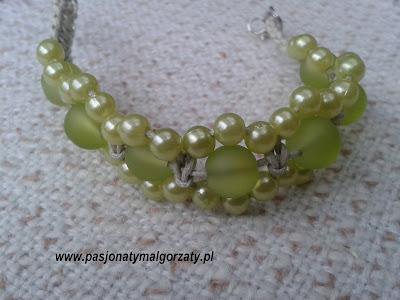 makrama koraliki zielone ręcznie robiona