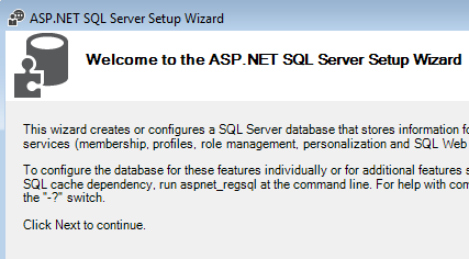 ASP.NET SQL Server Setup Wizard