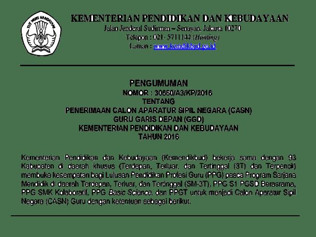 Penerimaan CPNS/CASN Guru Garis Depan ( GGD ) Tahun 2016 Kemdikbud
