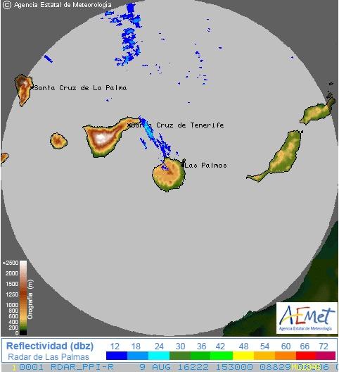 Previsión lluvia norte Gran Canaria 9 agosto