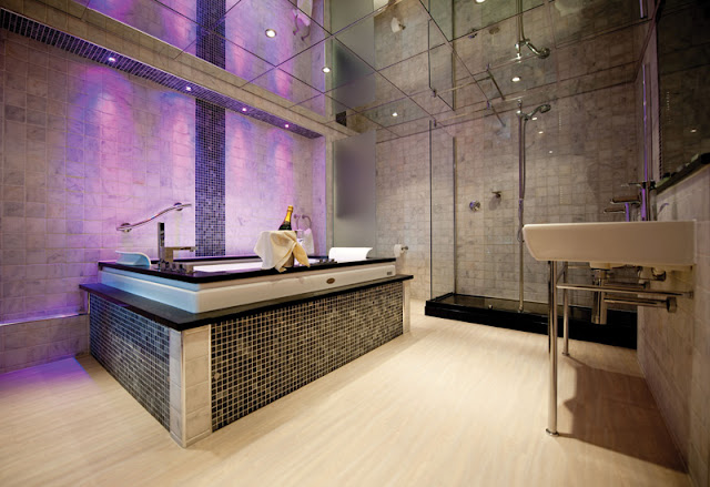 Modern bathroom with purple lighting