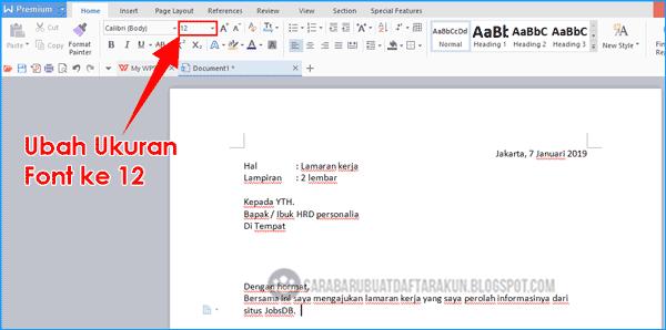 cara menulis cv surat lamaran kerja di wps office
