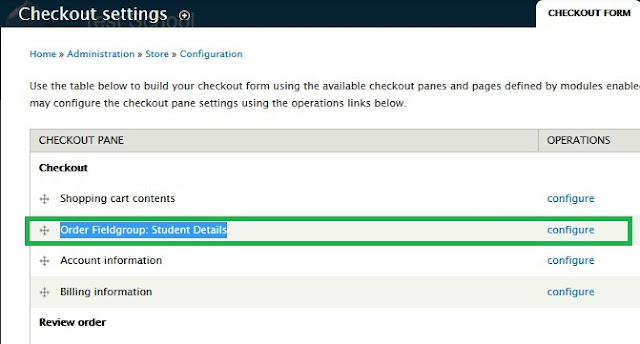 Checkout settings in Drupal Commerce to display the custom fields