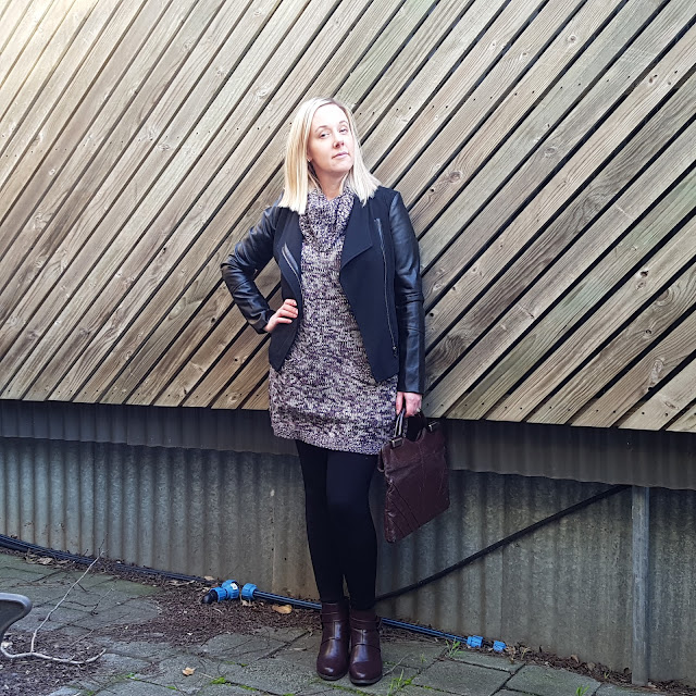 Jacket, knit dress, tights and ankle boots | Almost Posh