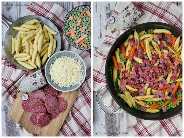 Schupfnudel-Salami-Gratin | Rezept | Kochen | Essen | Auflauf