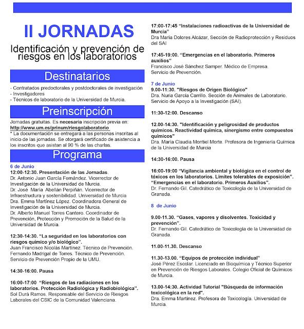 """La UMU celebra las II Jornadas sobre """"Identificación y Prevención de Riesgos en los Laboratorios""""."""