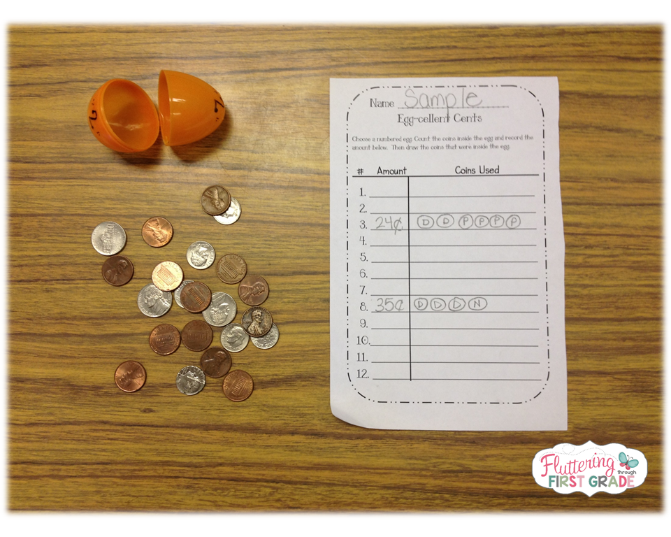 Coin counting math center activity for Spring - Egg-cellent Cents