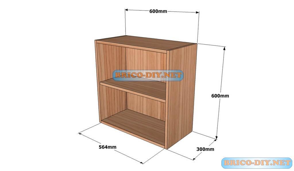 Mueble de cocina Plano alacena de madera cedro 60 cm de largo