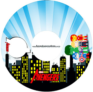 Etiquetas de Los Vengadores Chibi para CD's.