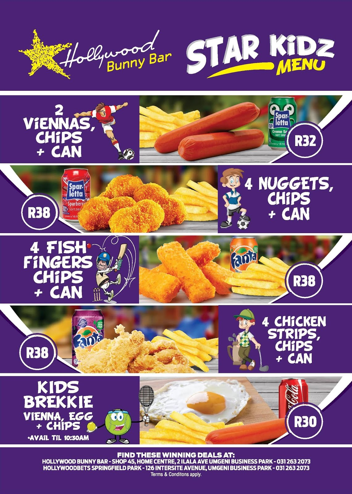 Hollywood Bunny Bar - Star Kidz Menu - Viennas - Chicken Nuggets - Fish Fingers