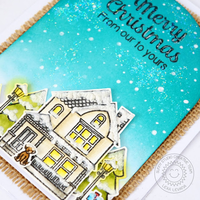 Sunny Studio Stamps: Happy Home & City Street Winter Scene Christmas Card by Lexa Levana.