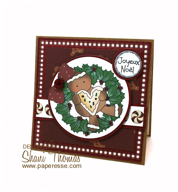 Gingerbread Wreath Christmas card, featuring Digi Web Studio Cheryl Seslar Sweet Wreaths topper, by Paperesse.