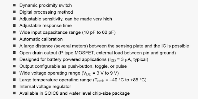 features of this specialized capacitive touch and proximity sensor