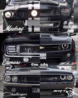 Differences face mustang, camaro and challenger: old and new versions