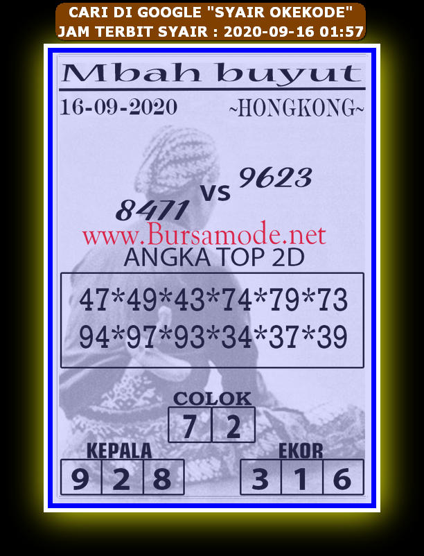 Kode syair Hongkong Rabu 16 September 2020 242
