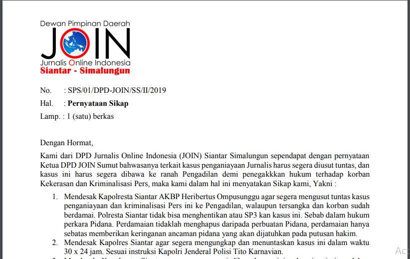 JOIN P.Siantar-Simalungun Kritisi Penanganan Hukum Kasus Penganiayaan Wartawan