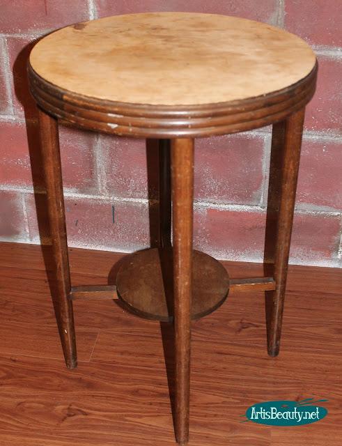 BEFORE round wood table rescued worn turned boho chic mandala artwork table