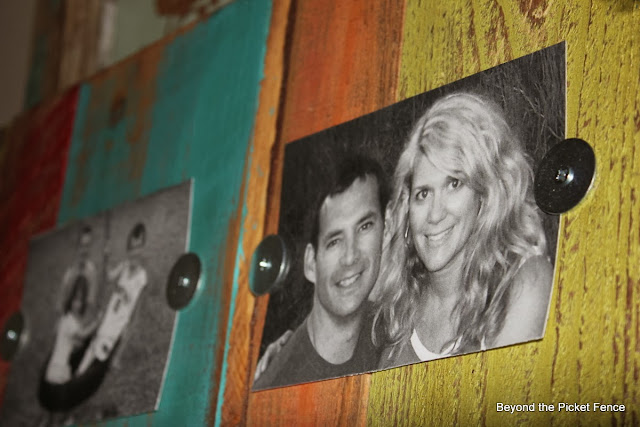 pallets, scraps, salvaged, colorful paint, photo display, http://goo.gl/mHMD53