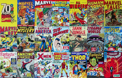 Rows of assorted vintage comic books from the Marvel franchise