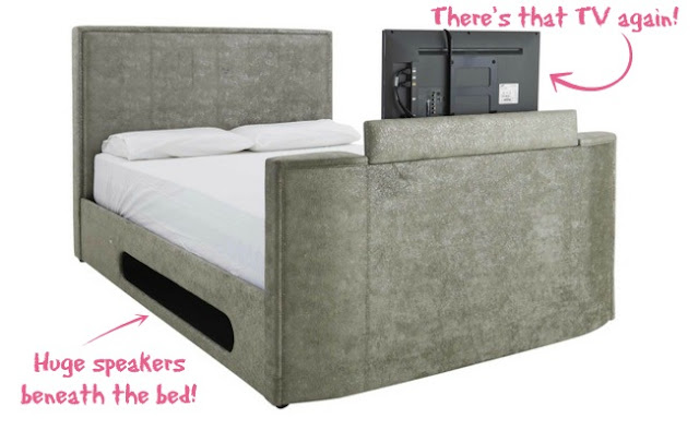 My New Bed Wishlist | Morgan's Milieu: An appearing TV, speakers built in - an awesome bed for adults. Maybe I should convince the Hubby we need a new bed.