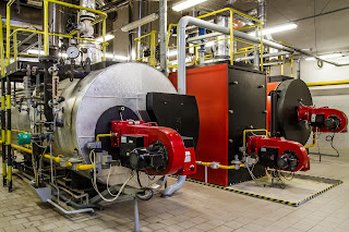 gas fired boilers in boiler room