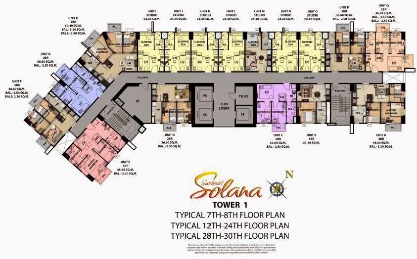 Solana Condominium Tower 1 Typical Floor Plan