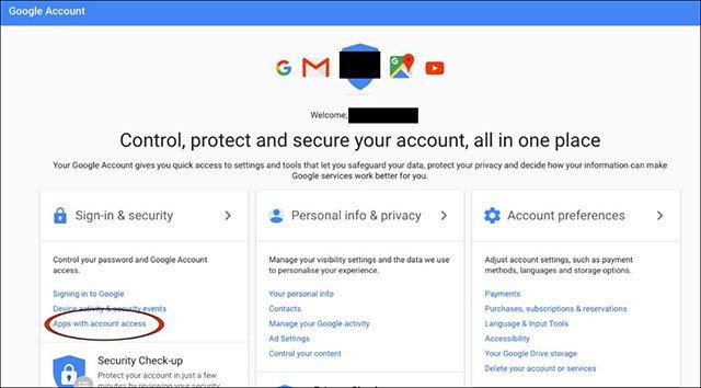 Xem ứng dụng nào đang đọc Gmail của bạn, giữ an toàn cho Gmail