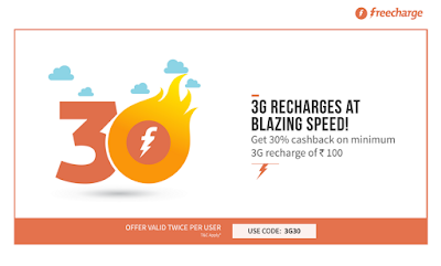 FreeCharge as always, Offers their customer high Cashback offers on Recharges & Bill payments. Now get Rs.30 Cashback on 3G internet recharge of Rs.100 or more.