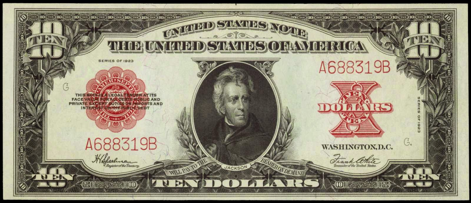 1923 Ten Dollar Legal Tender Note Andrew Jackson