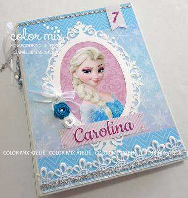 álbum scrapbook aniversário princesa elsa anna frozen fotos