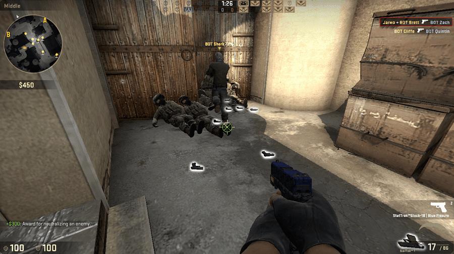 Contoh penampakan dropped gun yang glowing