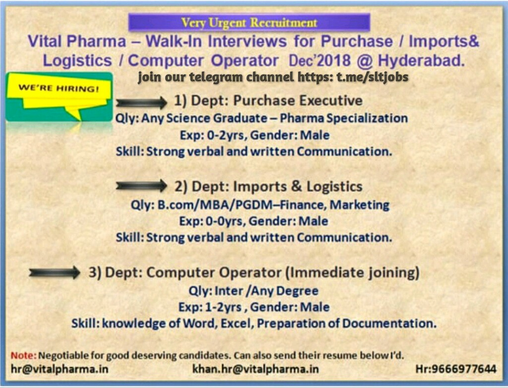 FresherJobsLive: Vital pharma