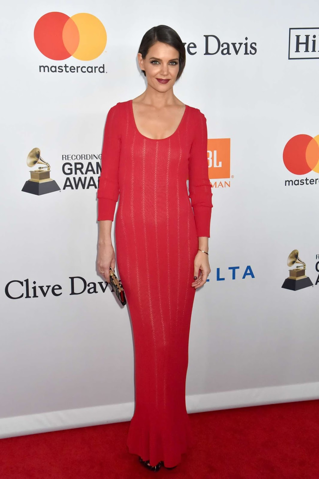 Katie Holmes goes stylish for the 2018 Clive Davis Pre-Grammy Gala