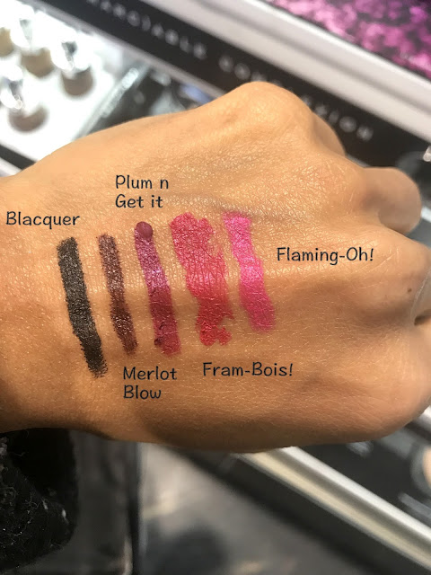 Marc Jacobs Beauty Le Marc Liquid Lip Crayons in Blacquer, Merlot Blow, Plum n Get it, Fram-Bois!, Flaming-Oh! Swatches