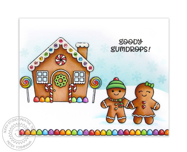 Sunny Studio Stamps: Jolly Gingerbread Rainbow Goody Gumdrops House Card by Mendi Yoshikawa