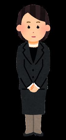 喪服を着た人のイラスト(女性)