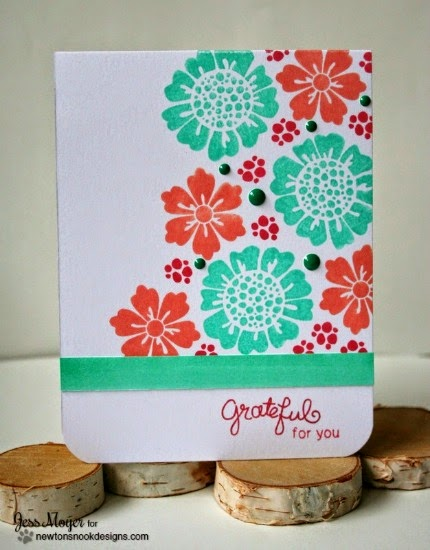 Grateful Inky Paws Challenge card by Jess Moyer | Fanciful Florals stamp set by Newton's Nook Designs