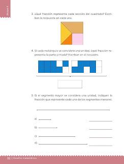 Apoyo Primaria Desafíos Matemáticos 4to. Grado Bloque II Lección 28 ¿Qué fracción es?