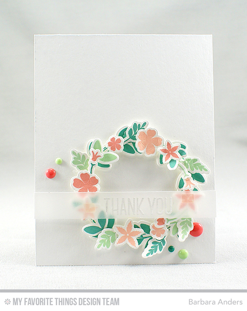 Handmade card from Barbara Anders featuring Lisa Johnson Designs Spring Wreath #mftstamps