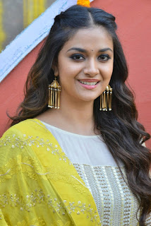Keerthy Suresh in Yellow Dress With Cute and Lovely Smile for New Movie Launch