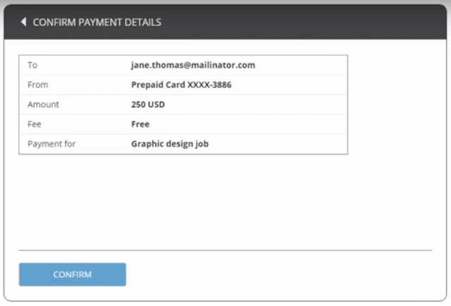 Sending payment using Payoneer confirmation