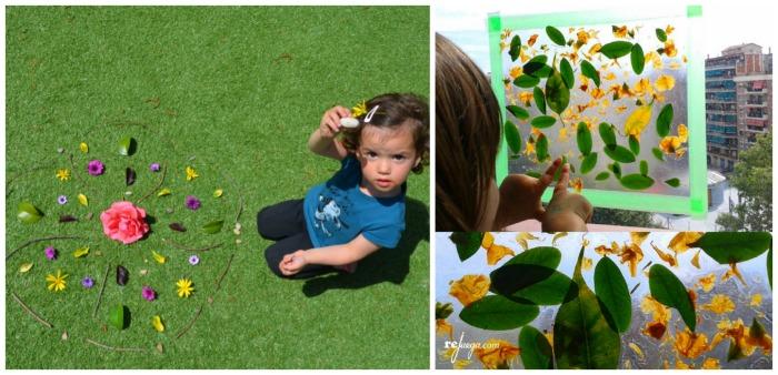 manualidad infantil creativa primavera: mandalas naturales con hojas y flores