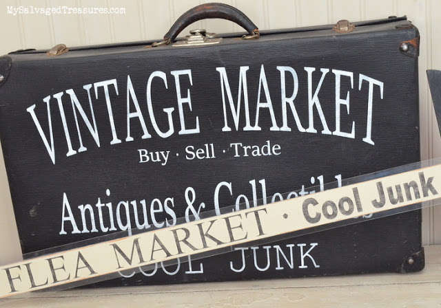 Custom stenciled vintage suitcase