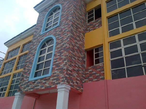 Eco bricks on exterior wall