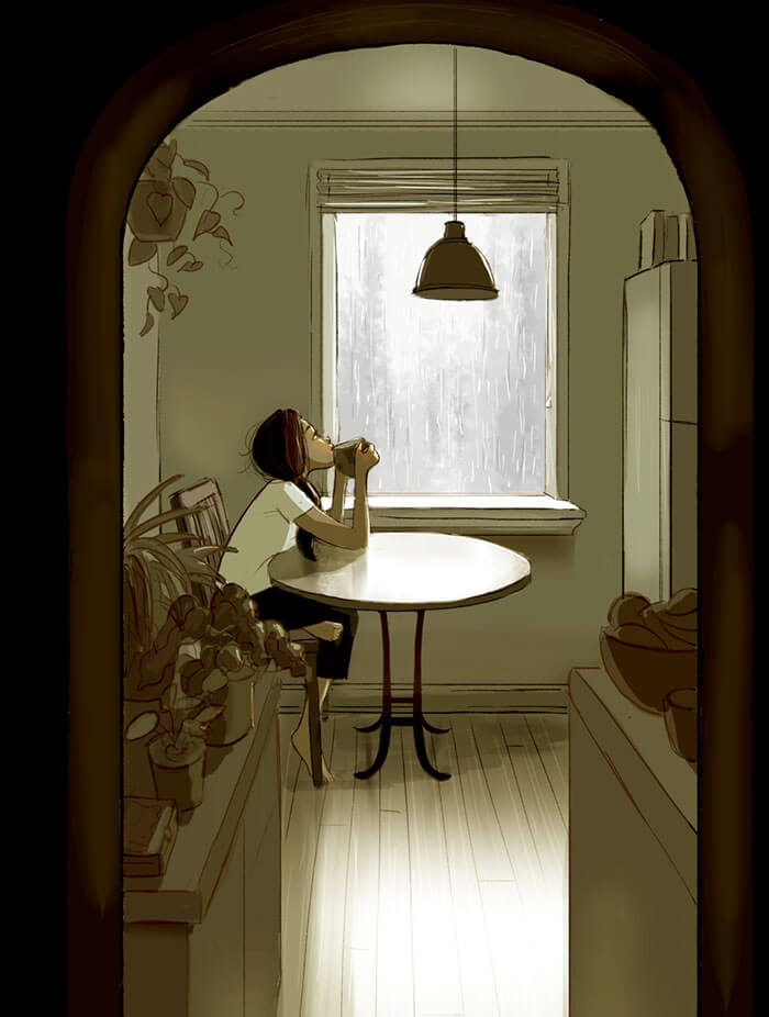 20 Beautiful Illustrations That Show What's Like To Live Alone - Enjoying A Cup Of Tea While Watching The Rain