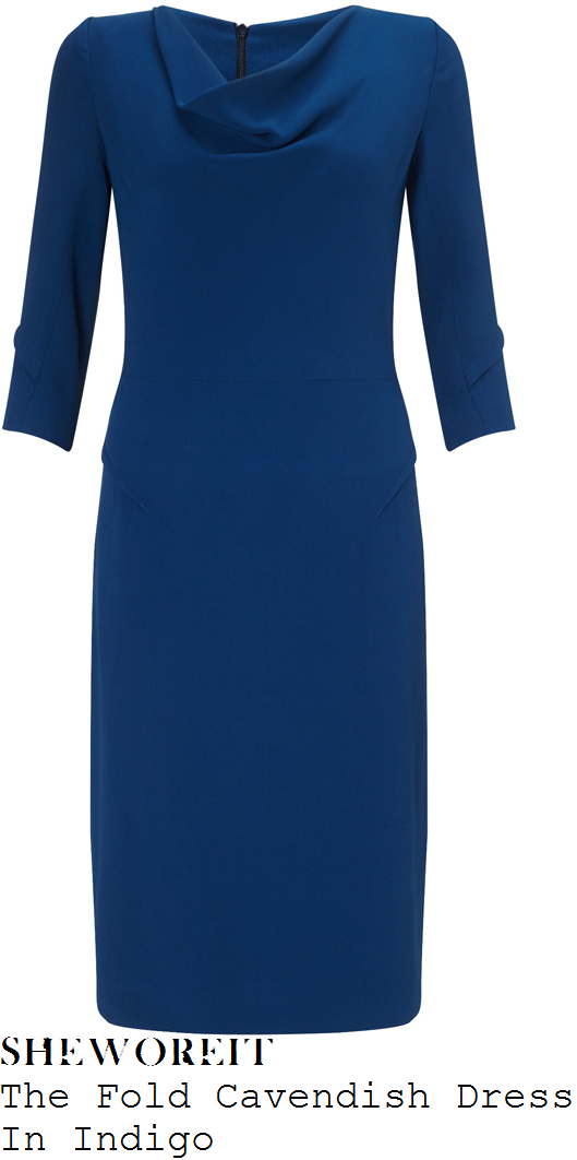 holly-willoughby-the-fold-cavendish-indigo-blue-three-quarter-sleeve-draped-cowl-neck-pencil-dress