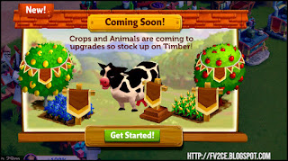 FV2CE, A Cow is standing still on a farm next to fruit tress and crops