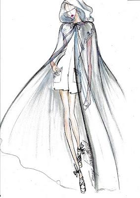 Une cape de mariage à grande capuche, porté sur une robe short en soie et dentelle